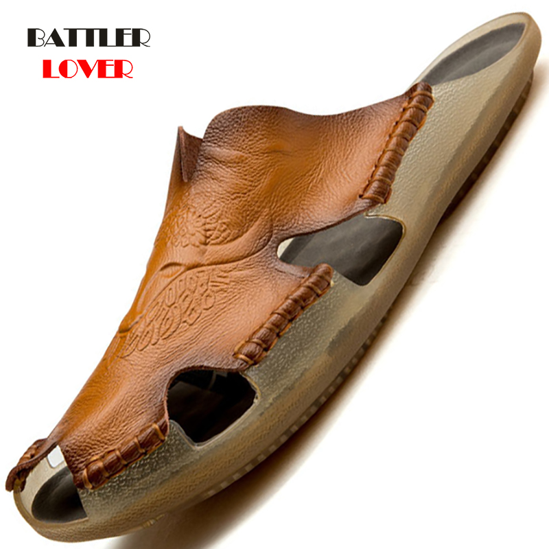 Size 38-48 Summer Slippers Men Hollow Out Breathable Beach Sandals Shoes Male Casual Flats Flip Flops Genuine Leather Footwear