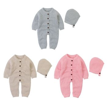 1 Pc Baby Knitted Rompers Clothes with Hat Infant Boys Girls Long Sleeve Sweater Autumn Winter Newborn Warm Jumpsuits Outfits