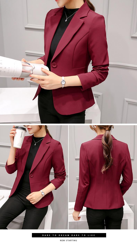 Black Women Blazer Formal Blazers Lady Office Work Suit Pockets Jackets Coat Slim Black Women Blazer Femme Jackets 19