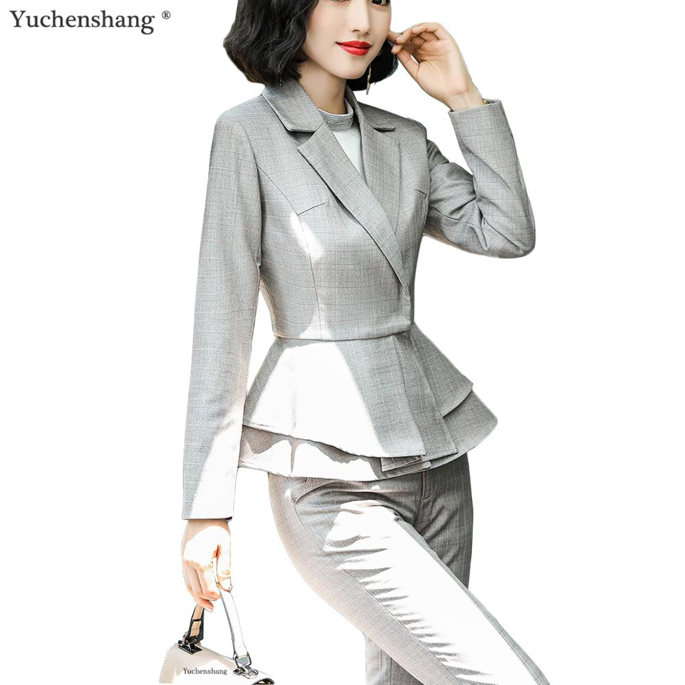 High Quality Women Office Ladies Ruffle Blazer +Pants Suit Soft Fabric Elegant Women Two Piece Set Blazer Jacket Suit