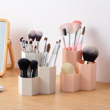 3 Lattices Makeup Brush Holder Cosmetic Brush Box Table Organizer Make