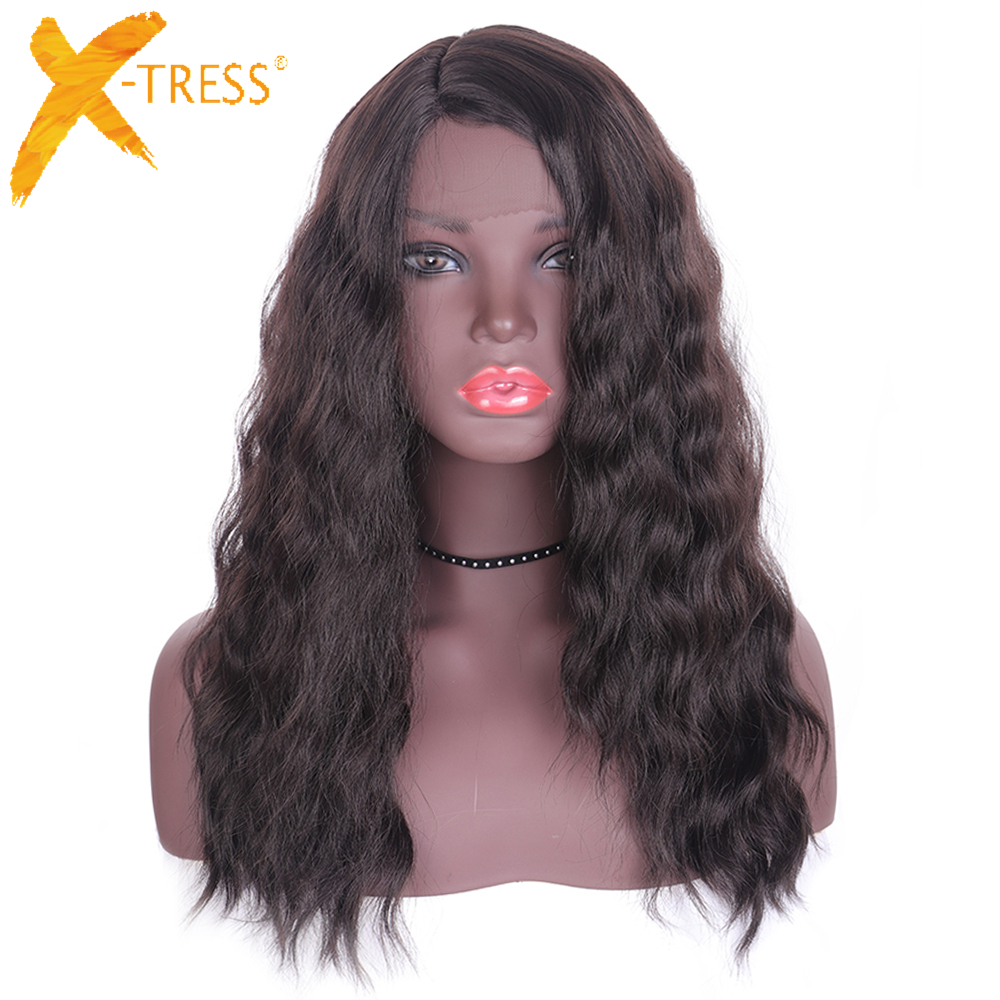 Synthetic Hair Lace Front Wigs For Black Women X-TRESS Dark Brown Color 22inch Long Soft Natural Wave Trendy Lace Wig Side Part