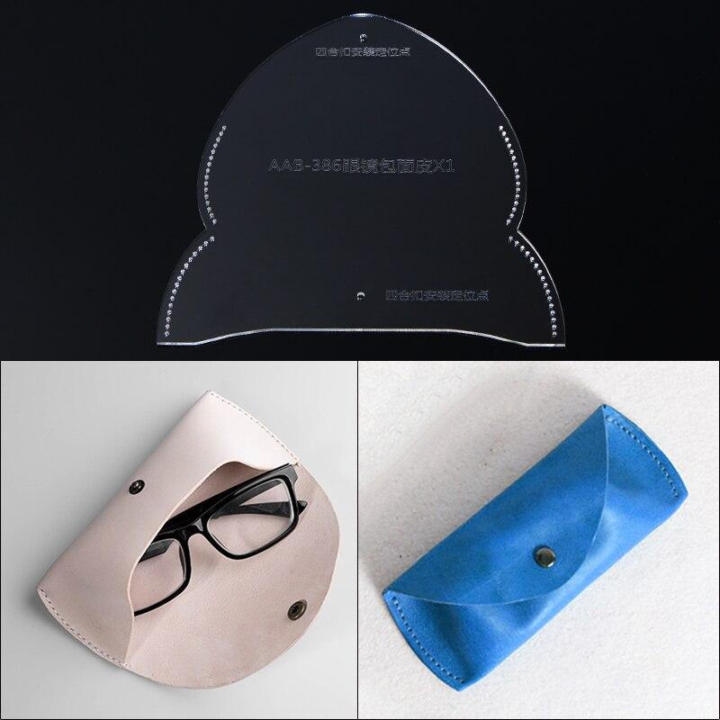 Bricolage à la main en cuir articles étui à lunettes miroir sac lunettes sac acrylique modèle dessins pour cuir outils accès