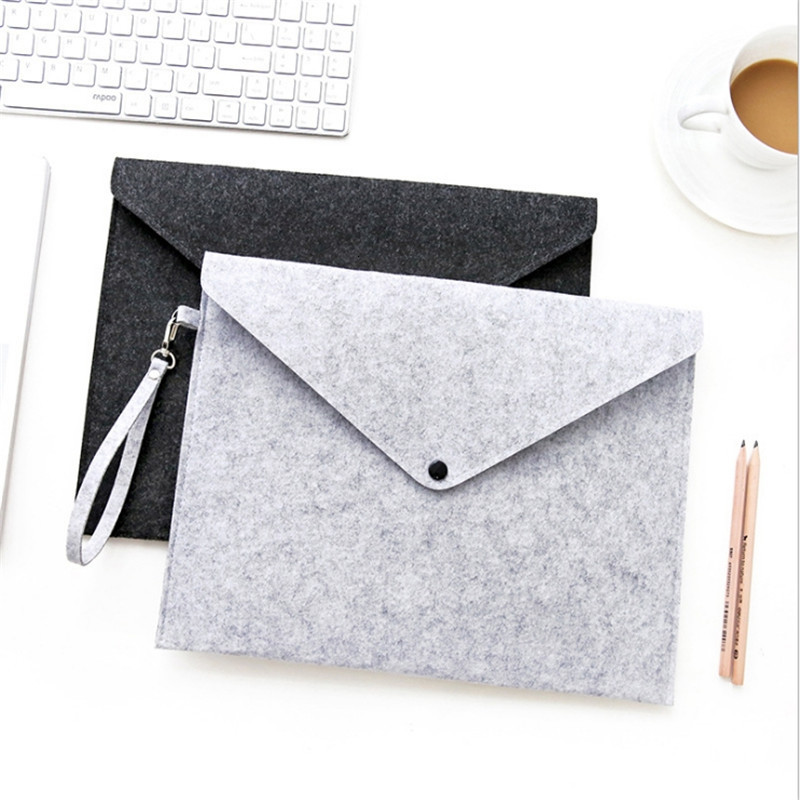 Men Briefcase Office Portable File Organizer Paper A4 Wool Felt Portfolio Folder Bags Stationery Office Supplies Portable Hand