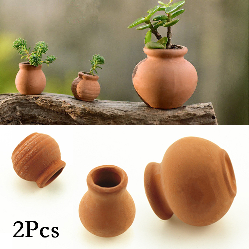 2Pcs Small Mini Terracotta Pot Clay Ceramic Pottery Planter Flower Pots 2.2*2.5/1.5*1.6/3.5*3.2cm Succulent Nursery Pots