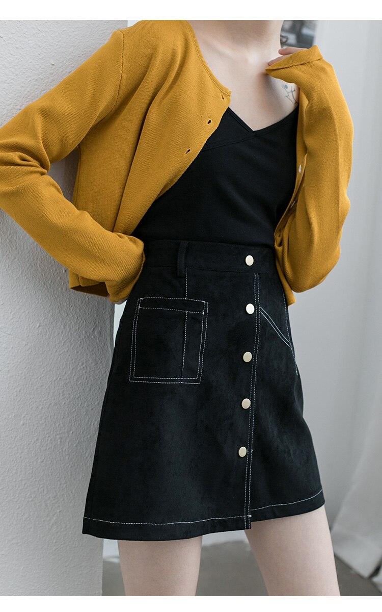 Suede High Waist Skirt Women Vintage A line Mini Skirt Cotton Spring Autumn 2019 Black Retro Petticoat Skirt Mujer