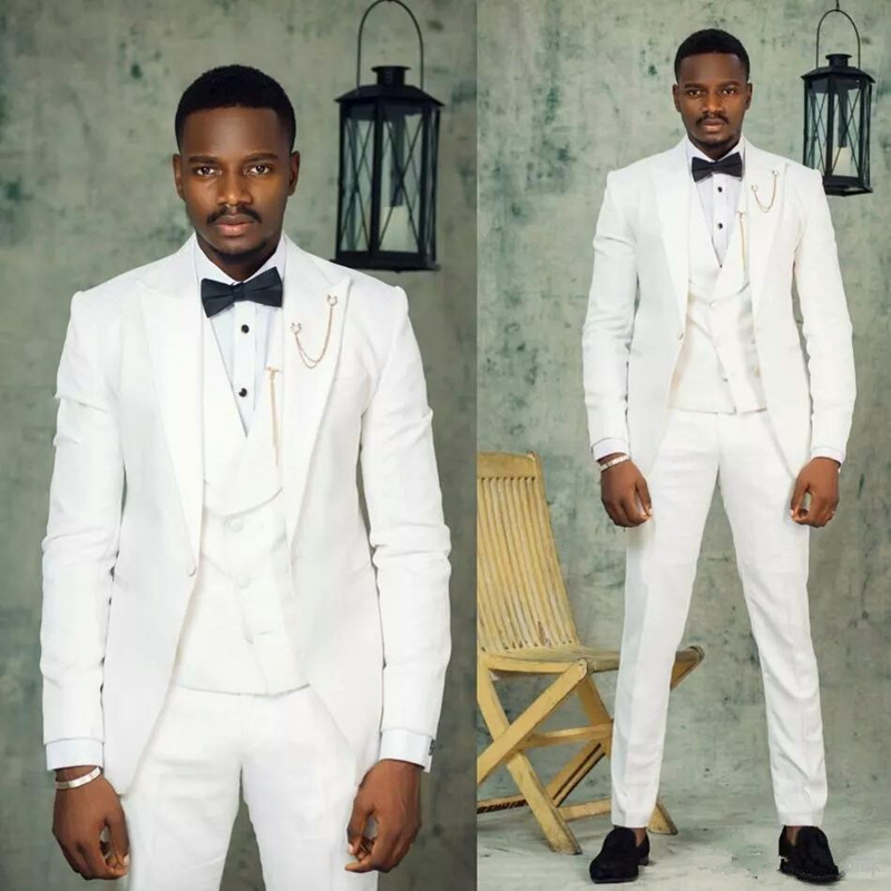 202003Custom Made White Groom Wear Wedding Tuxedos Man Suits Blazer 3Piece Slim Fit Male Jacket Trousers Vest Peaked Lapel Menswear Prom Party