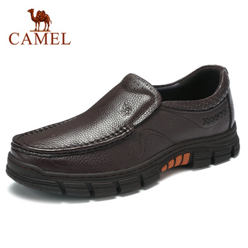 CAMEL Men Shoes Business Genuine Leather Casual Shoes Comfortable Delicate Lychee Pattern Lightweight Non-slip Men Loafers