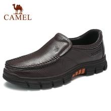Zapatos CAMEL para hombre, zapatos informales de cuero genuino de negocios, cómodos y delicados mocasines antideslizantes ligeros con patrón de lichi para hombre