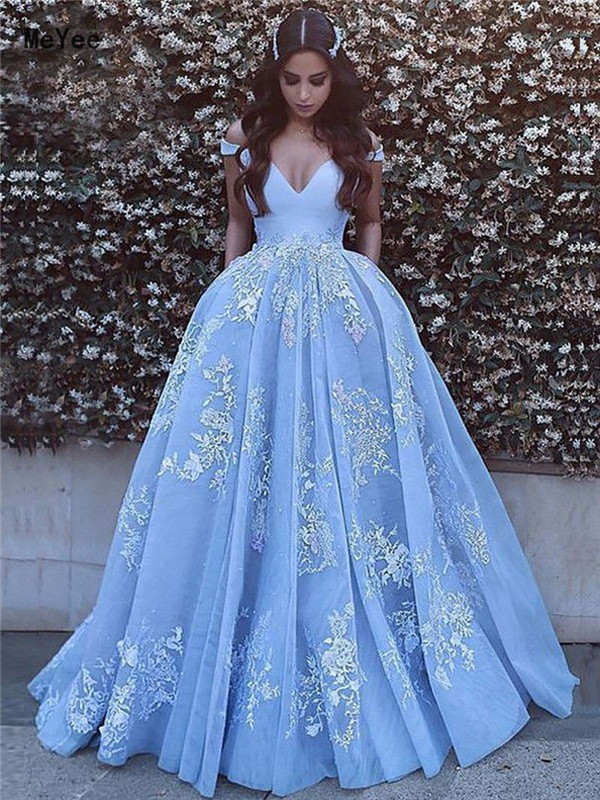 Sky Blue Ball Gown Quinceanera Dresses 2020 Off Shoulder Open Back Lace Appliques Prom Party Gowns Sweet 16 Birthday Dresses Buy At The Price Of 114 68 In Aliexpress Com Imall Com