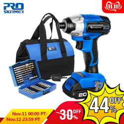 PROSTORMER 20V Electric Screwdriver Brushless Cordless Screwdriver Impact Drill 300NM Tool Bag Variable Speed Rechargeable Drill