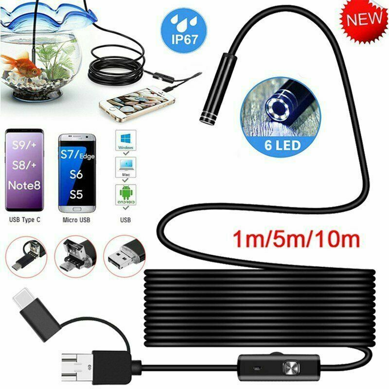 Waterproof HD Endoscope USB Type-C Borescope Inspection Snake Camera For Android 2M Black Hard Cables
