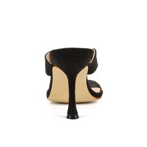 Image 5 - Pzilae chinelos femininos sólidos 2020 nova ladys verão chinelos chinelos chinelos de salto alto dedo do pé quadrado sólido preto chinelos feminino slides