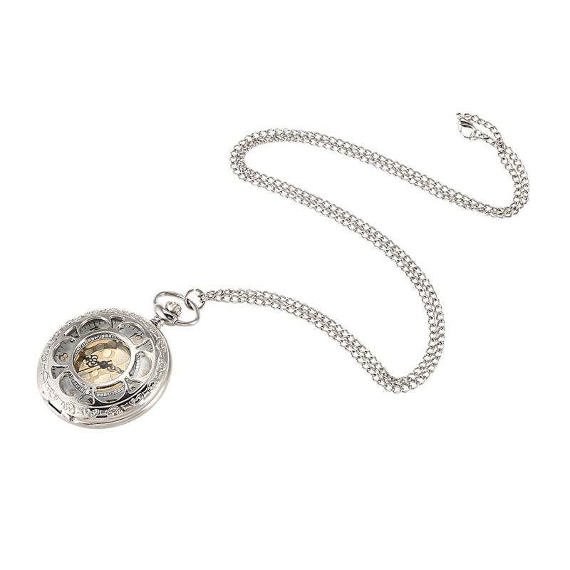 Silver Queen Petal Pocket Watch Creative Vintage Pendant Ladies Men's Gift Watch
