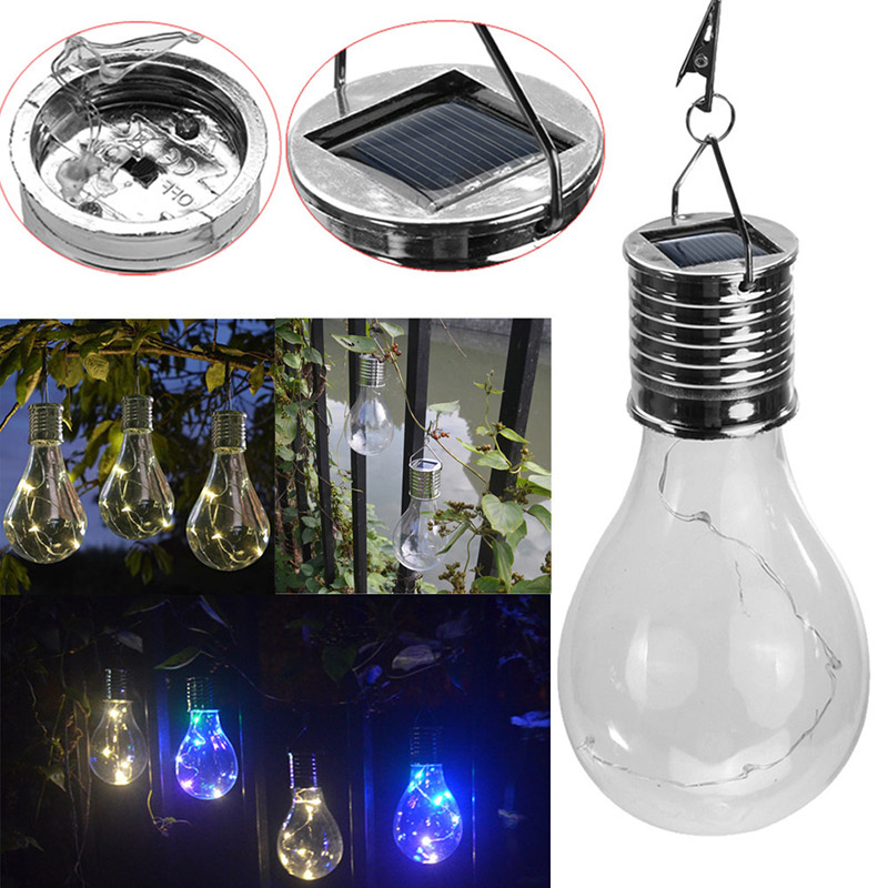 Solar Power LED Light Bulb Lamp Hanging Decoration Durable For Camping Outdoor Garden --M25