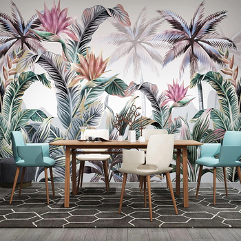 Custom Mural 3D Tropical Plant Banana Leaves Living Room Sofa TV Background Waterproof Canvas Wallpaper Wall Painting Home Decor