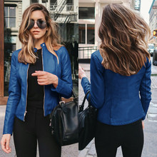 Jaqueta de primavera jaqueta de couro pu parágrafo manter uma moda feminina de manga comprida grossa quente casaco feminino quente