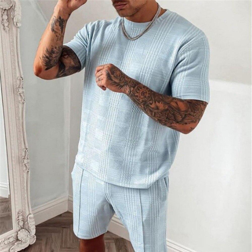 Костюм спортивный мужской из хлопковой ткани, Повседневная рубашка с короткими рукавами и шорты, облегающий комплект из 2 предметов, лето 2021