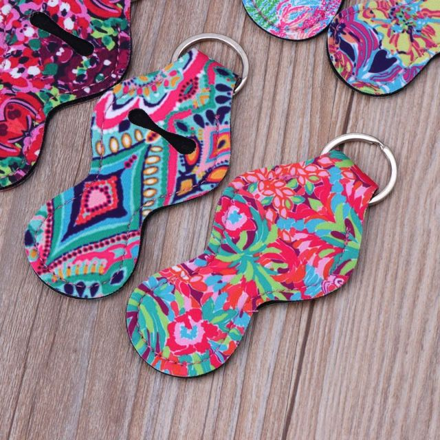 6Pcs Neoprene Floral Waterproof Lipstick Chapstick Holder Bag purse back-pack Key Chain Jewelry keychain Gifts Accessories 4