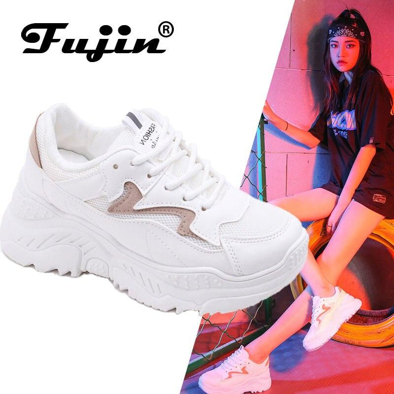 Fujin Sneakers Women Shoes Autumn Fashion Retro Ladies Footwear Breathable Mesh Platform