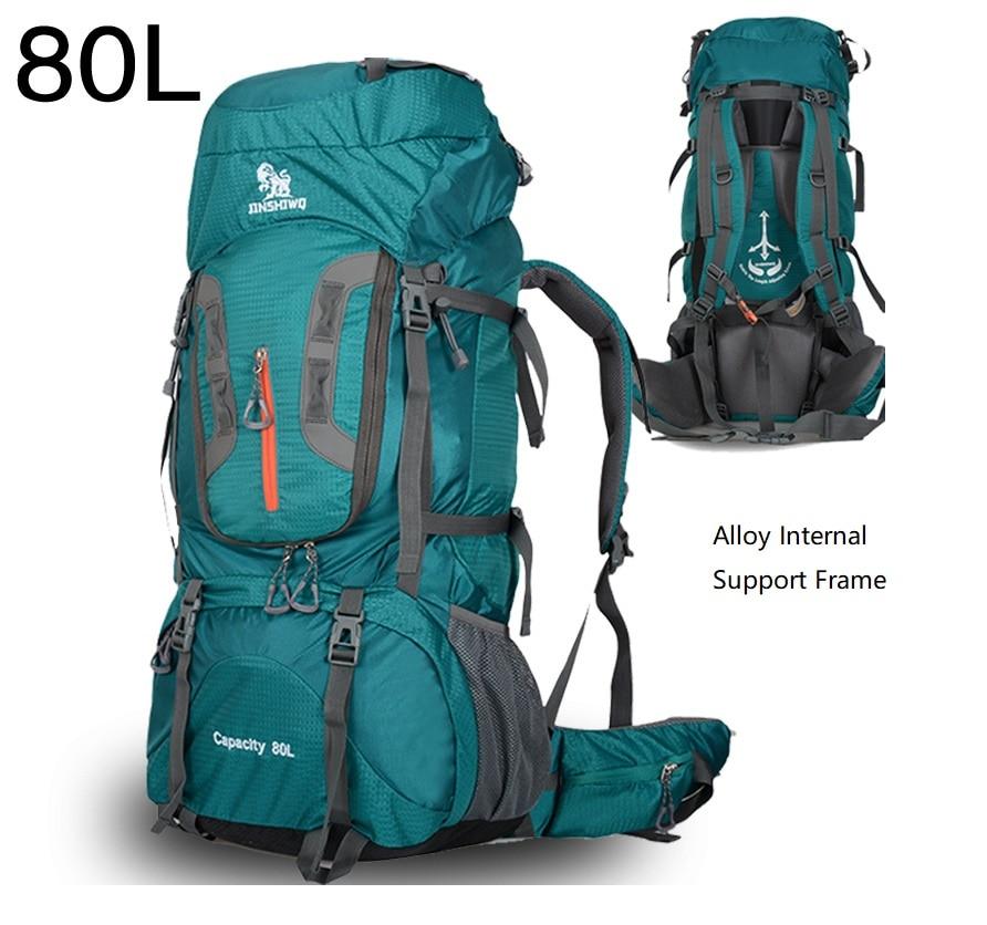 80L Large Capacity Camping Backpacks Outdoor Bag Backpack Nylon Superlight Travel Bag Alloy Support Frame