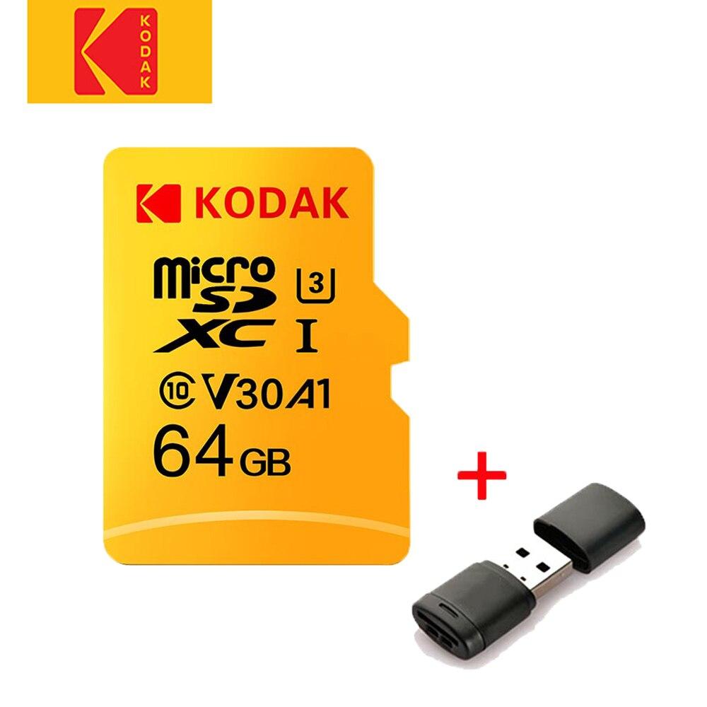 Tarjeta Micro SD kodak original, combina tarjeta de memoria 16G, 32G, 64G y 128G, tarjeta Flash class10 U1 U3 con lector de tarjetas