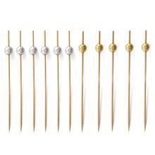 100Pcs 12cm Cocktail Picks Creative Handmade Round Beads Appetizer Picks Fruit Toothpicks Wedding Party Supplies