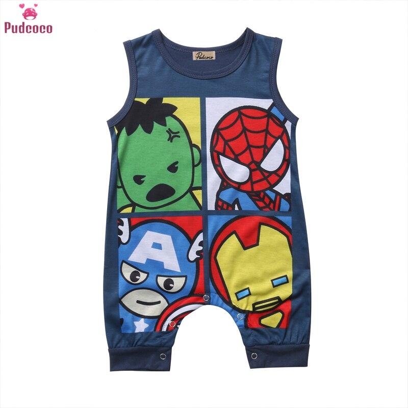 Newborn Summer Clothes Cartoon Print Spider-Man Iron Man Sleeveless Baby Boy Girl Romper Cotton Jumpsuit Clothing 0-24M