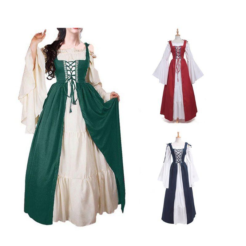 Women Long Flare Sleeves Renaissance Medieval Irish Over Dress Cream Chemise Set Ruffles Lace Up Drawstring Cosplay Costume
