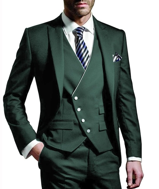 Three Pieces Men Suits Notched Lable Dark Green Groomsuit Blazer One Button Formal Business Suits Tuxedo (Blazer+vest+Pant)