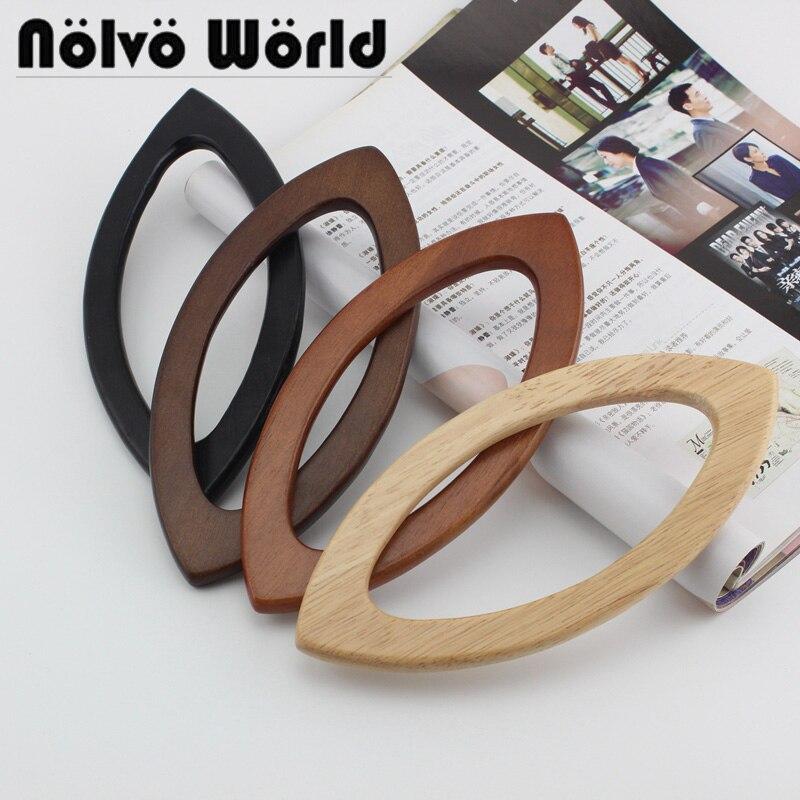 5 Pairs=10 Pieces,4 Colors Accept Mix,20X9.5cm Lip-shape Wood Handle For Knit Bag,oka Tree Wooden Simply Crochet Bag Pen Handles