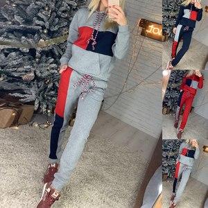 2 Piece Set Women Hoodies Sweatershirts Sports Set Warm Pullover Clothes Ladies Solid Tracksuit Women Set Top Pants Suit Female