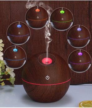 Mininawilżacz powietrza USB ultradźwiękowy dyfuzor zapachowy ziarno drewna 7 LED Light elektryczny dyfuzor olejków eterycznych do aromaterapii domu tanie i dobre opinie CN (pochodzenie)