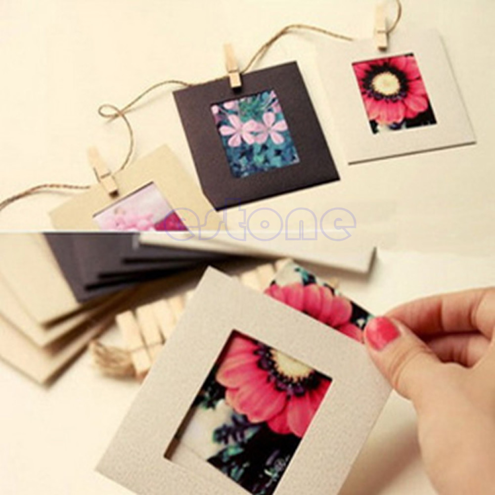 10x 3Inch DIY Flim Hanging Wall Picture Paper Photo Album Kraft Frame+Rope+Clips AXYF