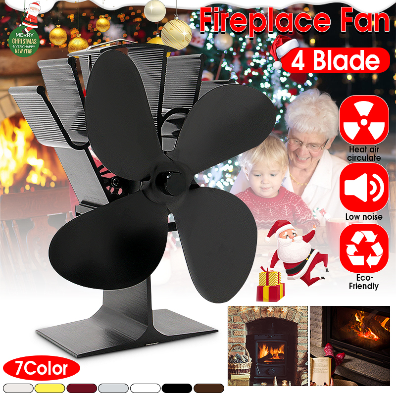 Black Fireplace 4 Blade Heat Powered Stove Fan komin Log Wood Burner Eco Friendly Quiet Fan Home Efficient Heat Distribution|Fireplace Parts| |  - title=