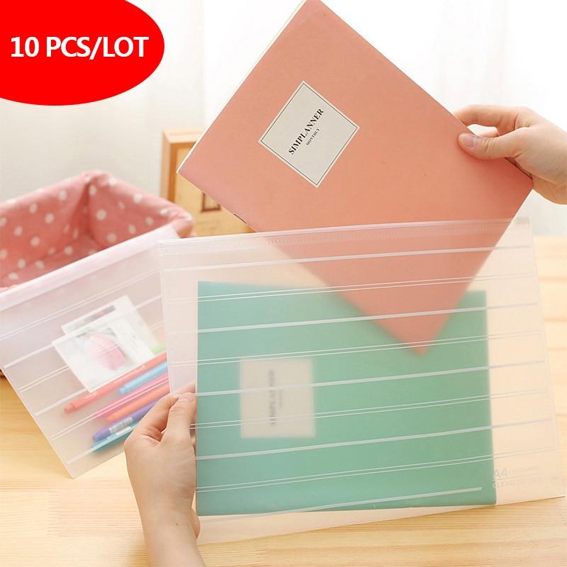 10 Pcs/lot Thicken Folder Transparent File Bag  Office Organizers  PP Document Organizer File Folder A4&A5