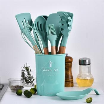 Green Cooking Tools Set Premium Silicone Utensils Turner Tongs Spatula Soup Spoon Non-stick Shovel Oil Brush Kitchen Tool