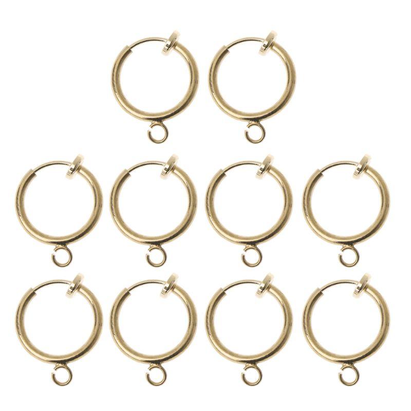 10 pces latão redondo hoop clip com laço para brinco diy encantos jóias descobertas