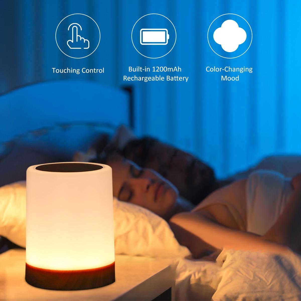 Lampe de chevet tactile Rechargeable par USB, lumière à intensité réglable, lumière blanche chaude, RGB, pour salon, chambre à coucher et bureau