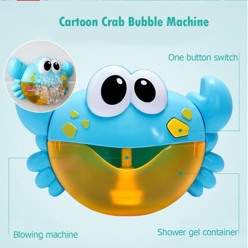 Funny music crab bubble machine electric automatic baby shower toy