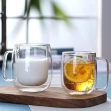 1Pc Doppel Wand Glas Mit Griff Wärme-wasserdicht Transparent Wasser Tasse Klare Kaffee Tee Wasser Glas Tasse Becher wein glas vaso glas