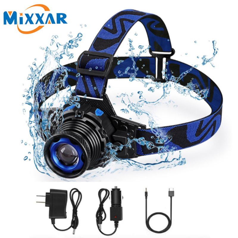 ZK20 Dropshipping Q5 Headlight Headlamp LED Waterproof 3 Modes Zoomable Rechargeable Built-in Battery Head lamps Torch Light