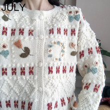 JULY Women Fair Isle Fluffy Jacquard-knit Sweater Pullover Sweater Ribbing at Crewneck Cuff and Hem in Cozy Style for Winter pompon embellished fair isle pattern dress