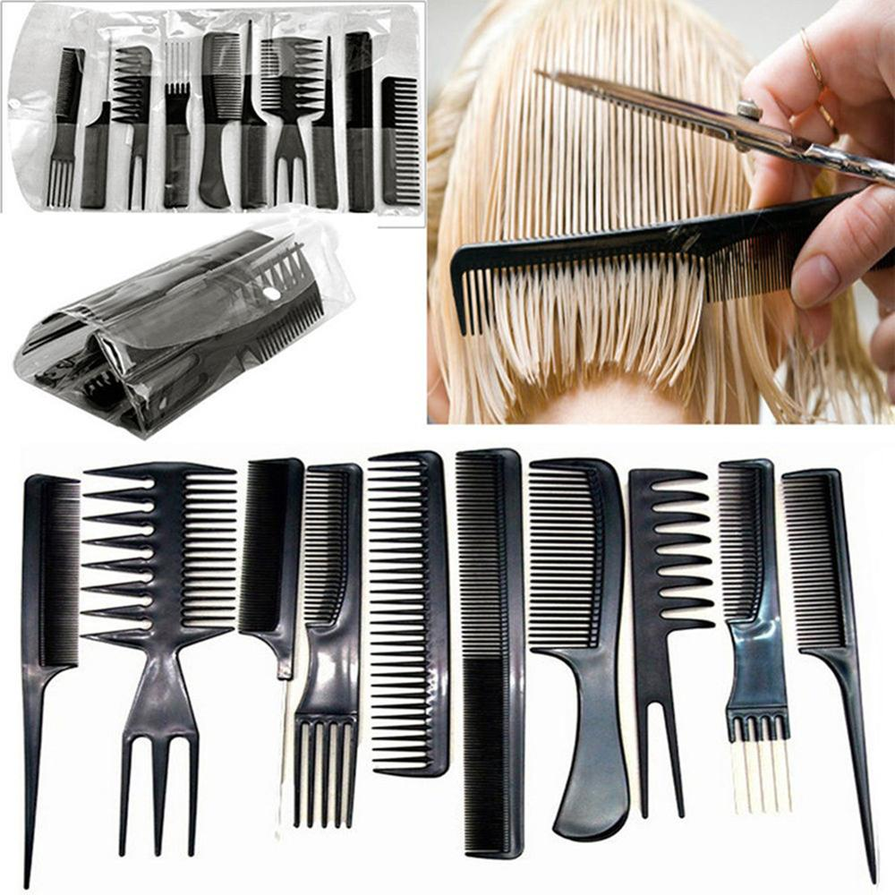 10pcs Professional Hairdressing Combs Barbers Hair Styling Tools Kits Set Useful 2019 New Useful High Quality Beauty Women Girls