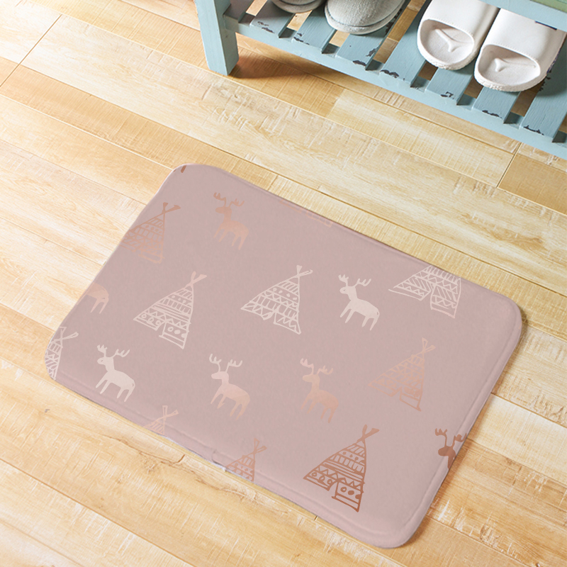 Fashion Luxury Christmas Style Door <font><b>Mat</b></font> Rose Gold Snowflake <font><b>Deer</b></font> Decoration Kitchen Blanket Marble Planet Geometric <font><b>Bathroom</b></font> <font><b>Mat</b></font> image