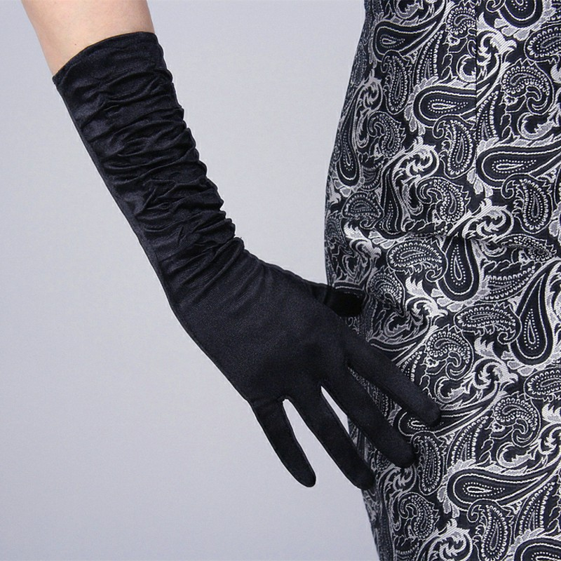 Girl Solid Color Long Formal Pageant Glove Women 20s  Bridal Satin Banquet Party Wedding Colorful Black Evening Gloves ST012