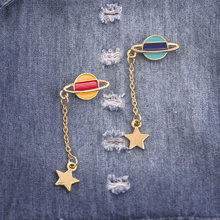 Creative Earth Moon star Brooches Women Men Drip Animal Brooch Pins Chain Button Pin Denim Jacket Pin Badge Gift Jewelry(China)