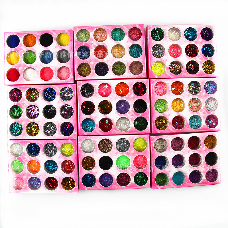 Nail Sequins Glittering Powder 12-Color Set Nail Sticker Oily Glue Velvet A Shell Powder Caviar Rhombus Shimmering Powder Access