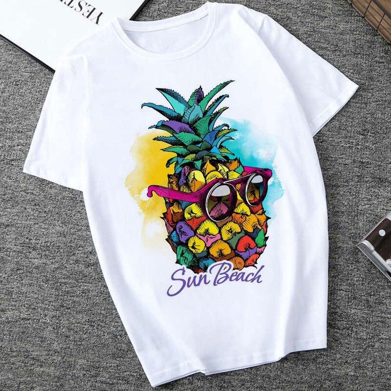Women Clothes 2019 Sun Beach Pineapple Funny Aesthetic Printed Tshirt Women Leisure Short Sleeve O-neck T Shirt Fruit T-shirt