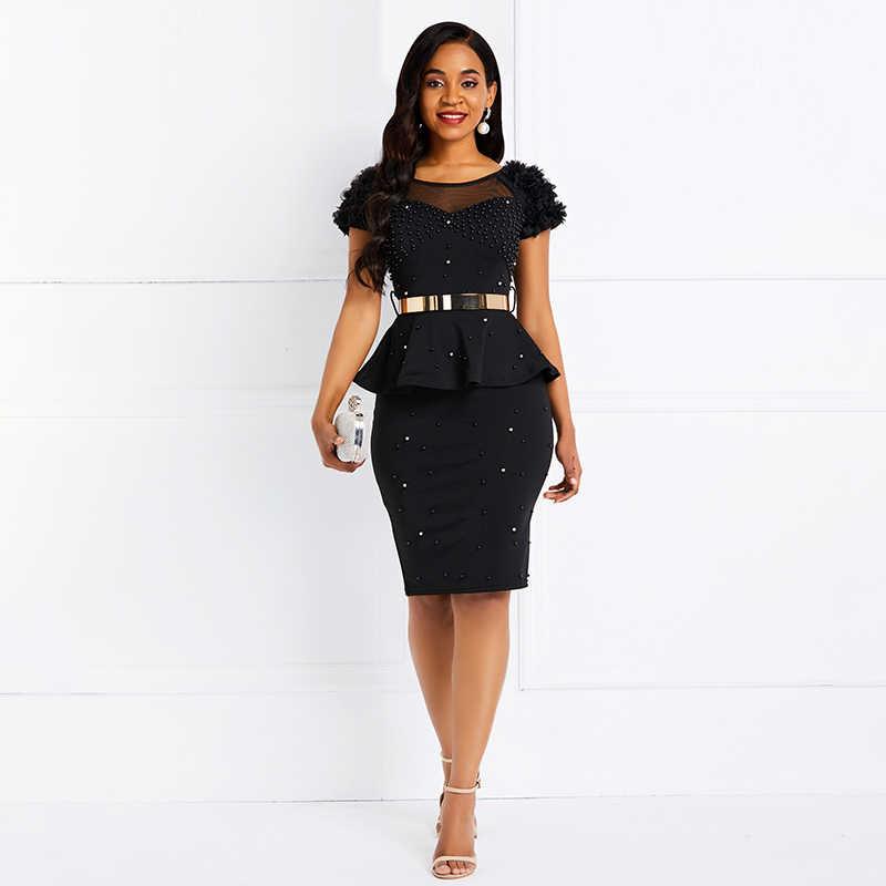 Sisjuly Women Bodycon Dress Ruffles Beading Black Dress Working Belt Elegant Party Summer OL Casual Evening Female Sexy Dresses